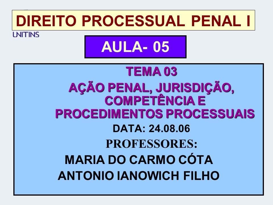 DIREITO PROCESSUAL PENAL I TEMA 03 AÇÃO PENAL, JURISDIÇÃO, COMPETÊNCIA E PROCEDIMENTOS PROCESSUAIS DATA: 24.08.06 PROFESSORES: MARIA DO CARMO CÓTA ANT