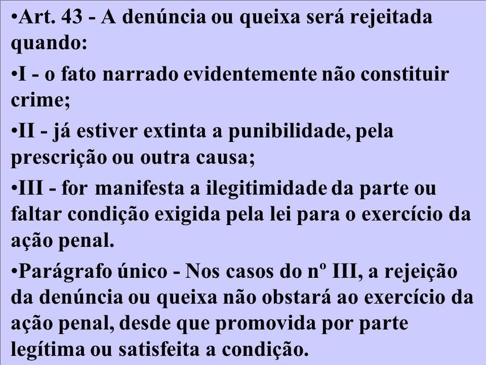 Art. 43 - A denúncia ou queixa será rejeitada quando: I - o fato narrado evidentemente não constituir crime; II - já estiver extinta a punibilidade, p