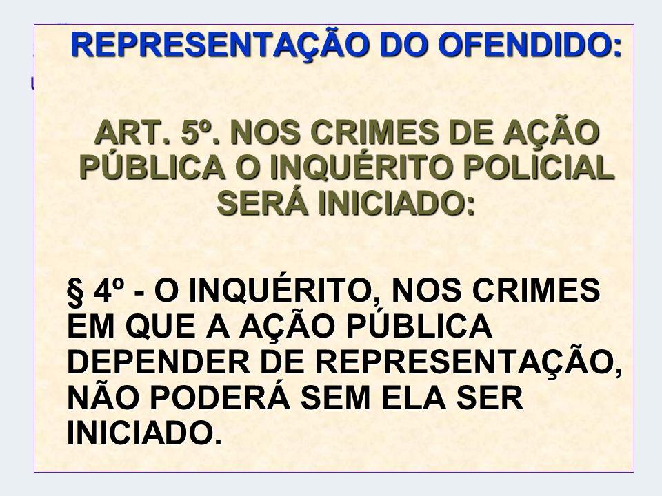 REPRESENTAÇÃO DO OFENDIDO: ART. 5º. NOS CRIMES DE AÇÃO PÚBLICA O INQUÉRITO POLICIAL SERÁ INICIADO: § 4º - O INQUÉRITO, NOS CRIMES EM QUE A AÇÃO PÚBLIC