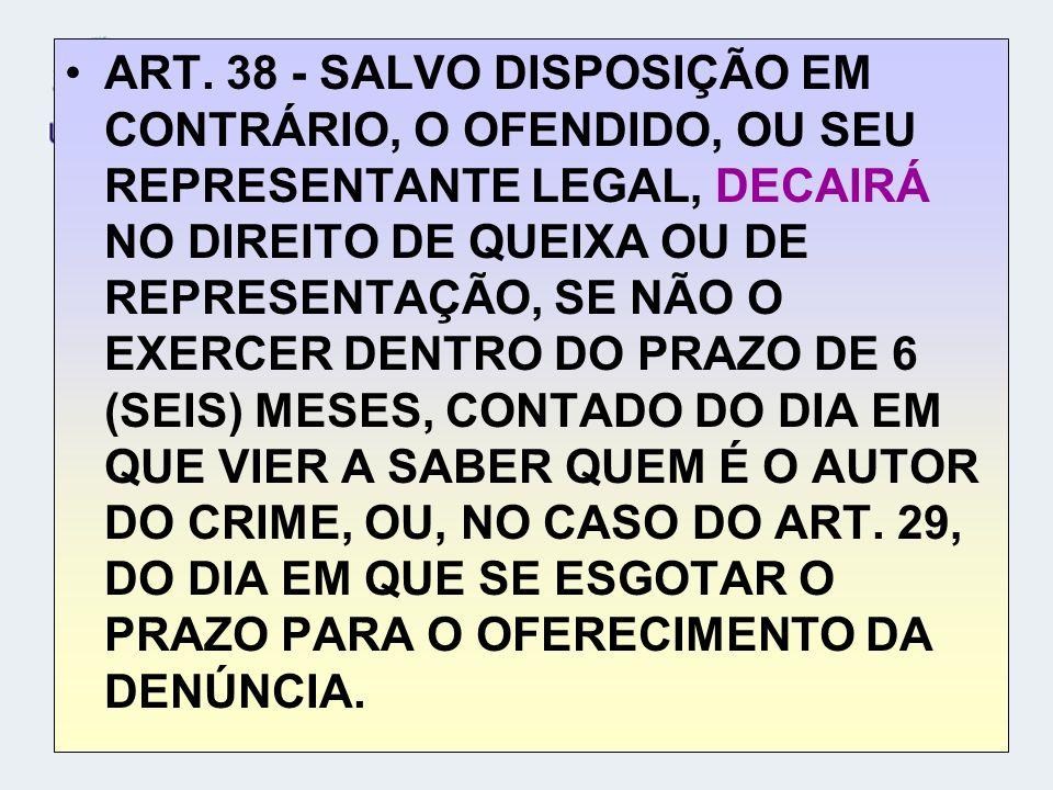 ART. 38 - SALVO DISPOSIÇÃO EM CONTRÁRIO, O OFENDIDO, OU SEU REPRESENTANTE LEGAL, DECAIRÁ NO DIREITO DE QUEIXA OU DE REPRESENTAÇÃO, SE NÃO O EXERCER DE