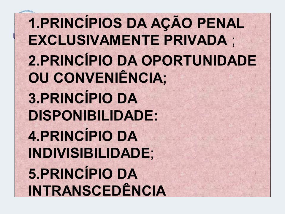 1.PRINCÍPIOS DA AÇÃO PENAL EXCLUSIVAMENTE PRIVADA ; 2.PRINCÍPIO DA OPORTUNIDADE OU CONVENIÊNCIA; 3.PRINCÍPIO DA DISPONIBILIDADE: 4.PRINCÍPIO DA INDIVI
