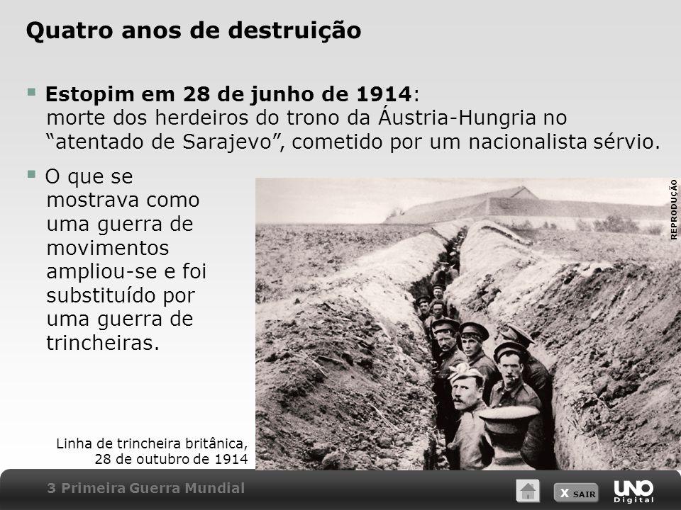 X SAIR Quatro anos de destruição Estopim em 28 de junho de 1914: morte dos herdeiros do trono da Áustria-Hungria no atentado de Sarajevo, cometido por