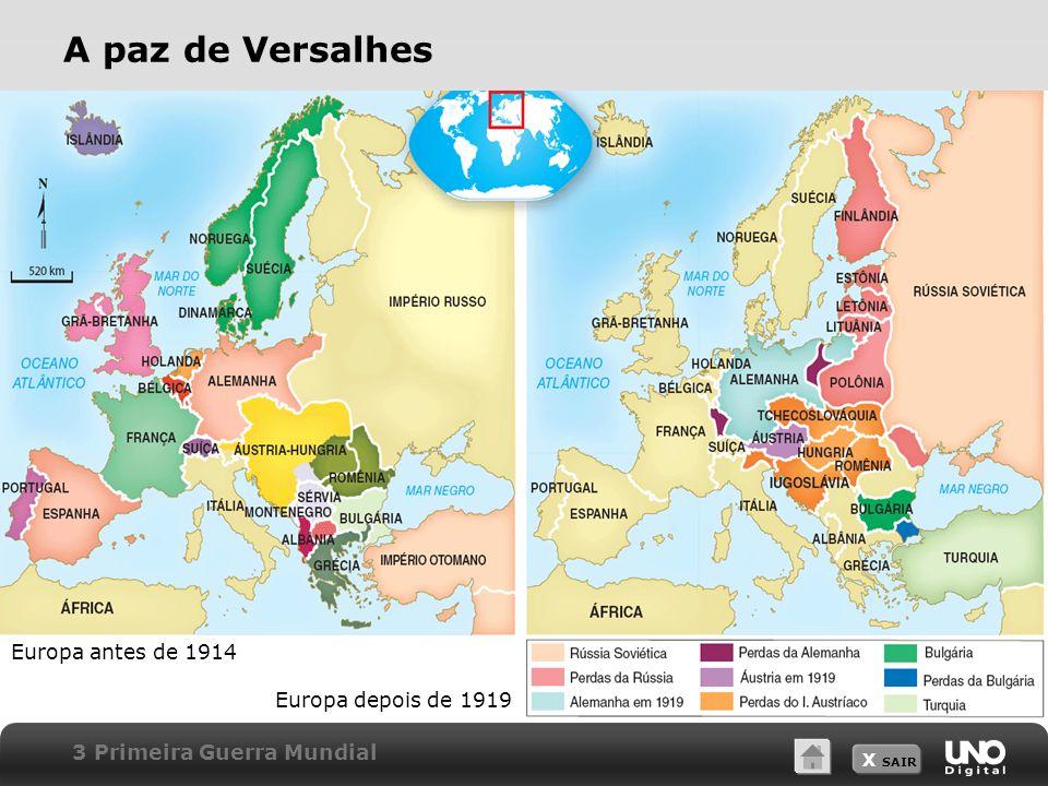 X SAIR 3 Primeira Guerra Mundial A paz de Versalhes Europa antes de 1914 Europa depois de 1919
