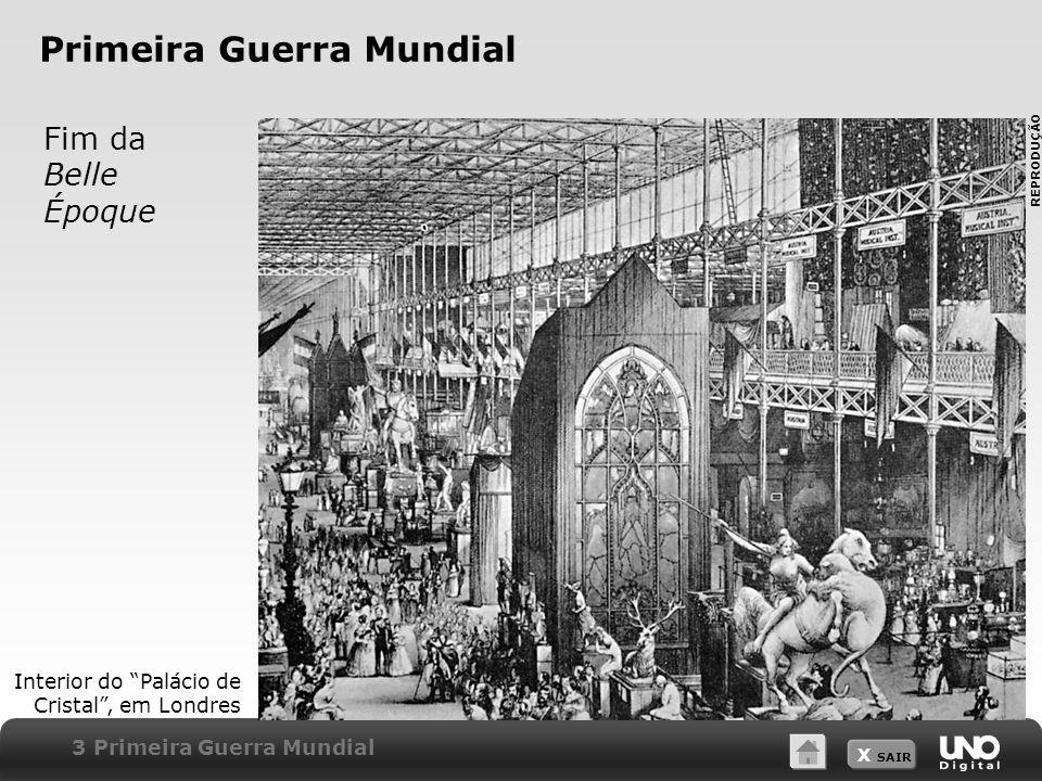 X SAIR Primeira Guerra Mundial Fim da Belle Époque 3 Primeira Guerra Mundial Interior do Palácio de Cristal, em Londres REPRODUÇÃO