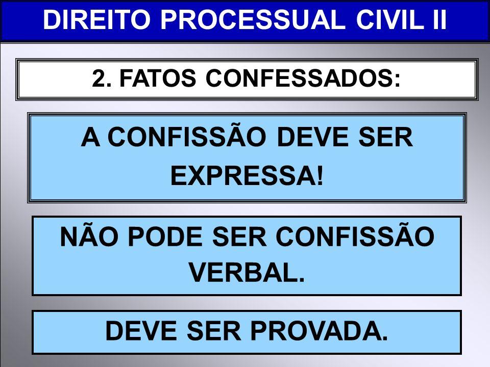 2. FATOS CONFESSADOS: A CONFISSÃO DEVE SER EXPRESSA! NÃO PODE SER CONFISSÃO VERBAL. DIREITO PROCESSUAL CIVIL II DEVE SER PROVADA.