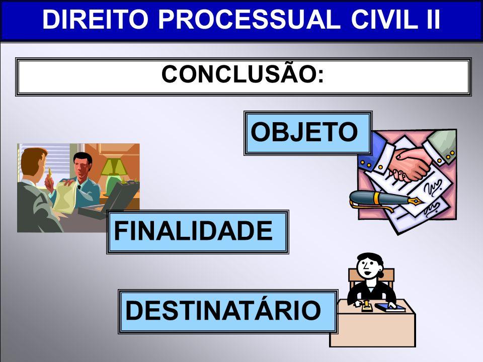 DIREITO PROCESSUAL CIVIL II CONCLUSÃO: FINALIDADE OBJETO DESTINATÁRIO