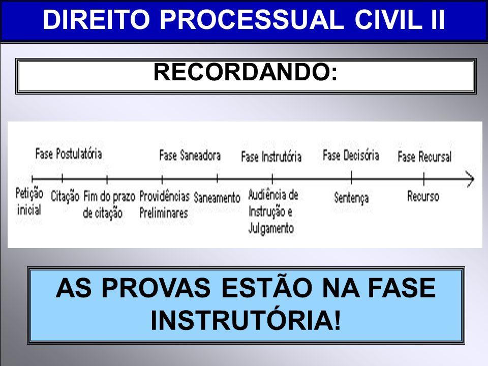 RECORDANDO: DIREITO PROCESSUAL CIVIL II AS PROVAS ESTÃO NA FASE INSTRUTÓRIA!