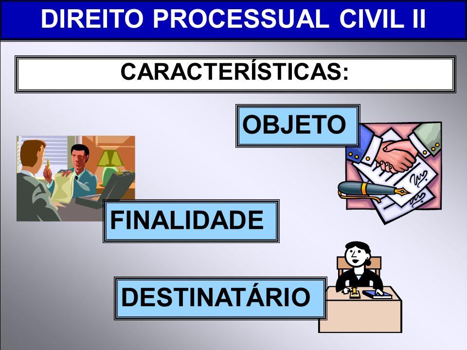 CARACTERÍSTICAS: DIREITO PROCESSUAL CIVIL II FINALIDADE OBJETO DESTINATÁRIO