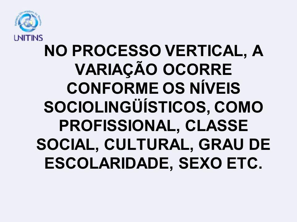 NO PROCESSO VERTICAL, A VARIAÇÃO OCORRE CONFORME OS NÍVEIS SOCIOLINGÜÍSTICOS, COMO PROFISSIONAL, CLASSE SOCIAL, CULTURAL, GRAU DE ESCOLARIDADE, SEXO E