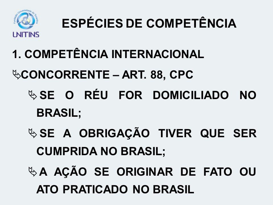 CRITÉRIOS DE DETERMINAÇÃO DE COMPETÊNCIA D.