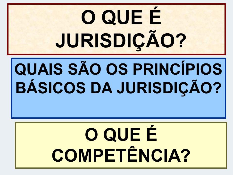 O QUE É JURISDIÇÃO? QUAIS SÃO OS PRINCÍPIOS BÁSICOS DA JURISDIÇÃO? O QUE É COMPETÊNCIA?
