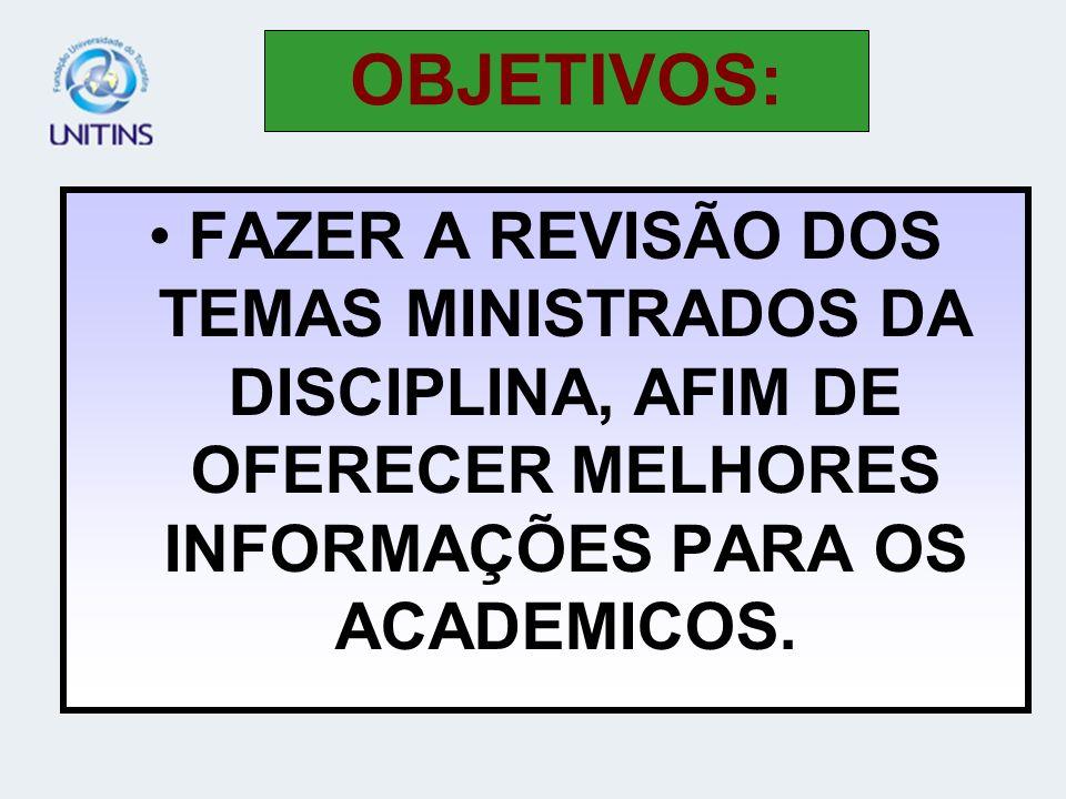 FAZER A REVISÃO DOS TEMAS MINISTRADOS DA DISCIPLINA, AFIM DE OFERECER MELHORES INFORMAÇÕES PARA OS ACADEMICOS.