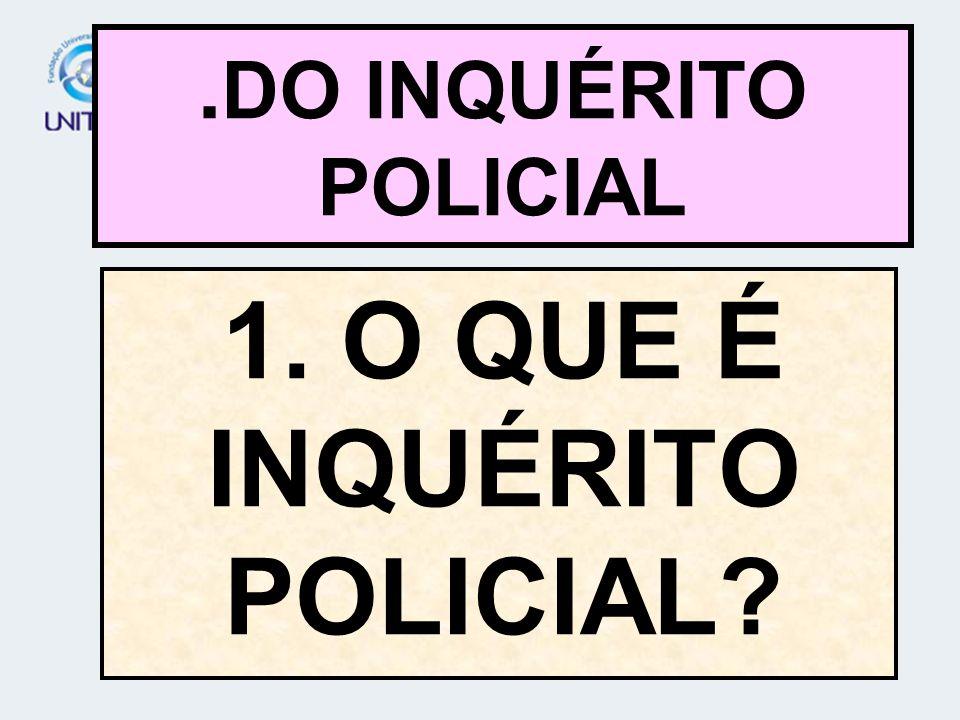1. O QUE É INQUÉRITO POLICIAL?. DO INQUÉRITO POLICIAL