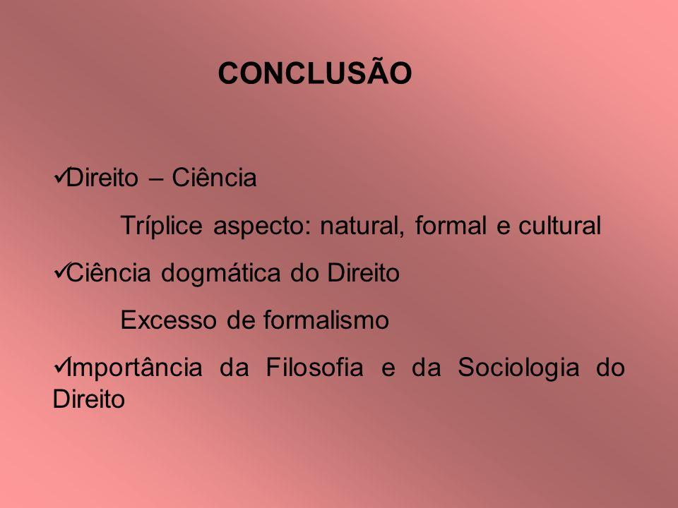CONCLUSÃO Direito – Ciência Tríplice aspecto: natural, formal e cultural Ciência dogmática do Direito Excesso de formalismo Importância da Filosofia e