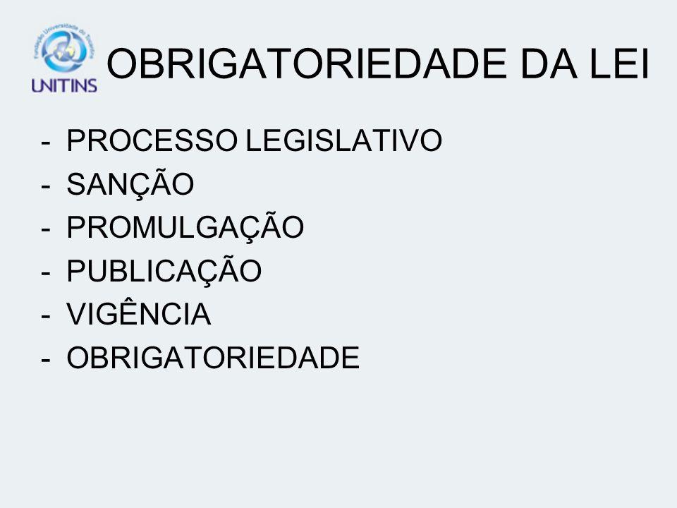 OBRIGATORIEDADE DA LEI -PROCESSO LEGISLATIVO -SANÇÃO -PROMULGAÇÃO -PUBLICAÇÃO -VIGÊNCIA -OBRIGATORIEDADE