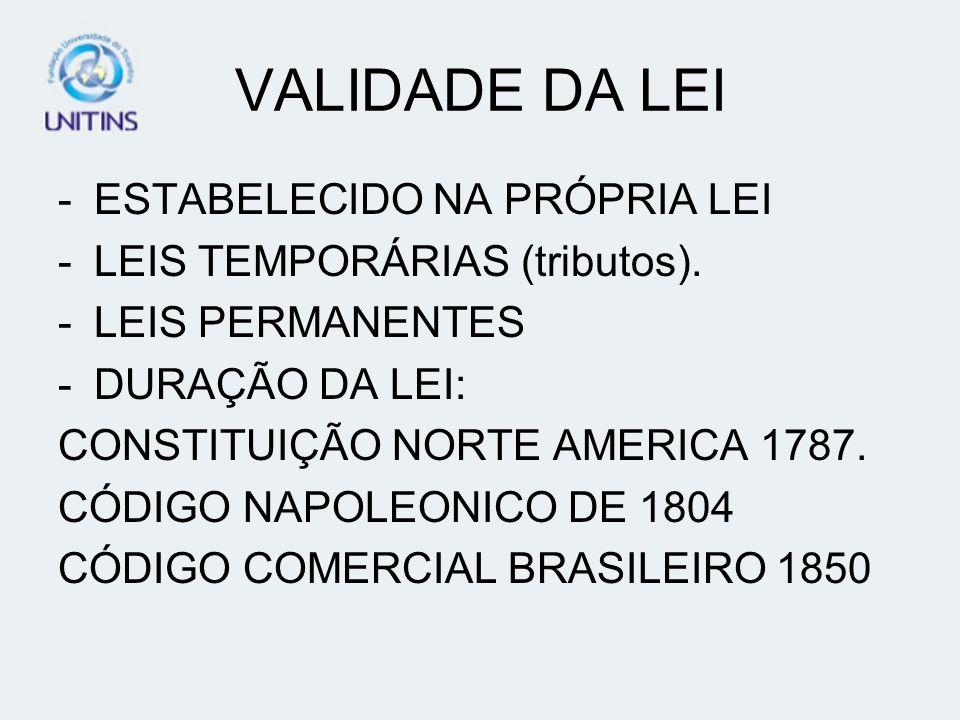 VALIDADE DA LEI -ESTABELECIDO NA PRÓPRIA LEI -LEIS TEMPORÁRIAS (tributos). -LEIS PERMANENTES -DURAÇÃO DA LEI: CONSTITUIÇÃO NORTE AMERICA 1787. CÓDIGO