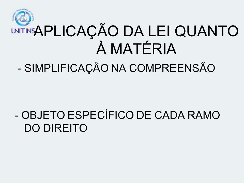 APLICAÇÃO DA LEI QUANTO À MATÉRIA - SIMPLIFICAÇÃO NA COMPREENSÃO - OBJETO ESPECÍFICO DE CADA RAMO DO DIREITO