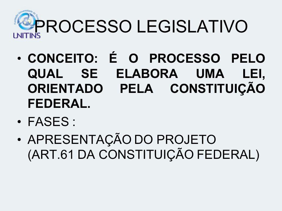 PROCESSO LEGISLATIVO CONCEITO: É O PROCESSO PELO QUAL SE ELABORA UMA LEI, ORIENTADO PELA CONSTITUIÇÃO FEDERAL. FASES : APRESENTAÇÃO DO PROJETO (ART.61