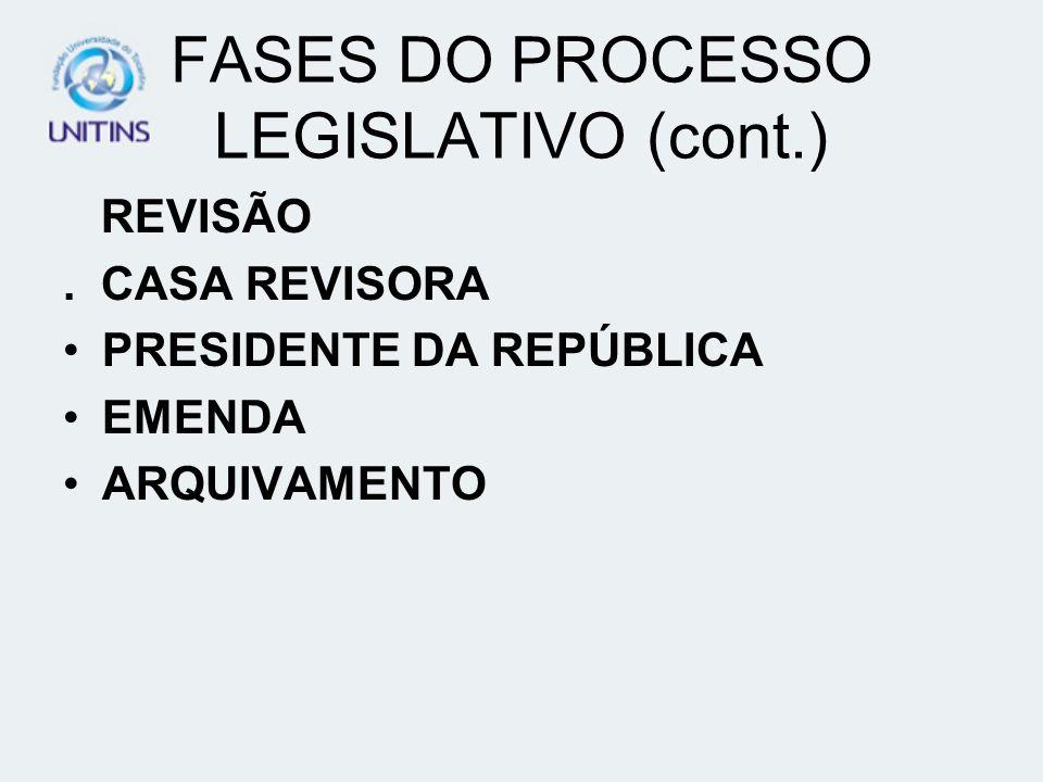 FASES DO PROCESSO LEGISLATIVO (cont.) REVISÃO. CASA REVISORA PRESIDENTE DA REPÚBLICA EMENDA ARQUIVAMENTO
