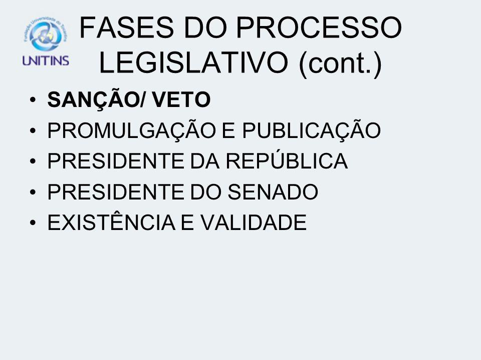 FASES DO PROCESSO LEGISLATIVO (cont.) SANÇÃO/ VETO PROMULGAÇÃO E PUBLICAÇÃO PRESIDENTE DA REPÚBLICA PRESIDENTE DO SENADO EXISTÊNCIA E VALIDADE