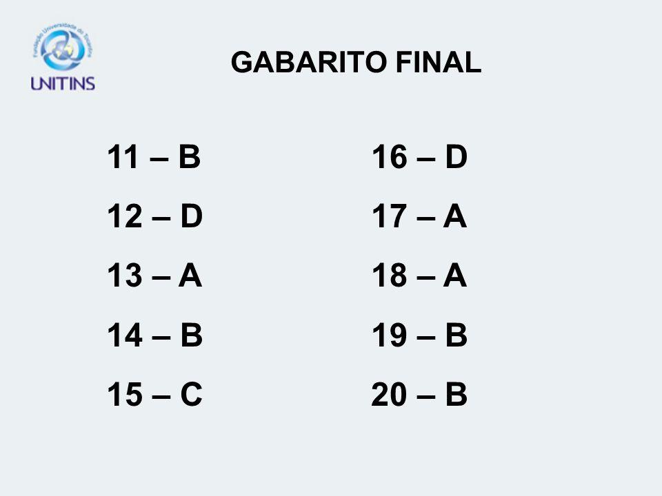 GABARITO FINAL 11 – B16 – D 12 – D17 – A 13 – A18 – A 14 – B19 – B 15 – C20 – B