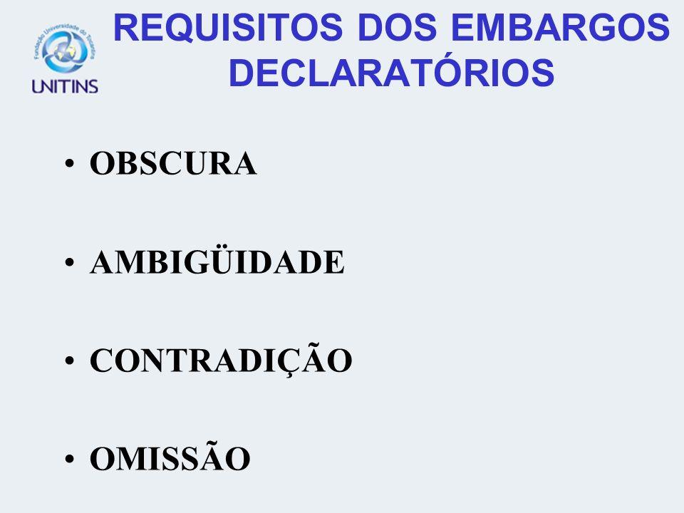 REQUISITOS DOS EMBARGOS DECLARATÓRIOS OBSCURA AMBIGÜIDADE CONTRADIÇÃO OMISSÃO
