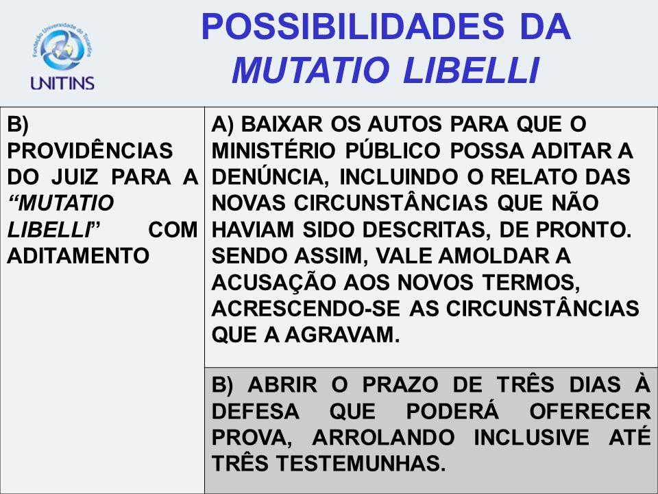 POSSIBILIDADES DA MUTATIO LIBELLI B) PROVIDÊNCIAS DO JUIZ PARA A MUTATIO LIBELLI COM ADITAMENTO A) BAIXAR OS AUTOS PARA QUE O MINISTÉRIO PÚBLICO POSSA