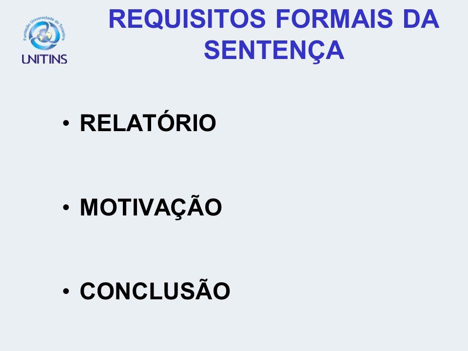 REQUISITOS FORMAIS DA SENTENÇA RELATÓRIO MOTIVAÇÃO CONCLUSÃO