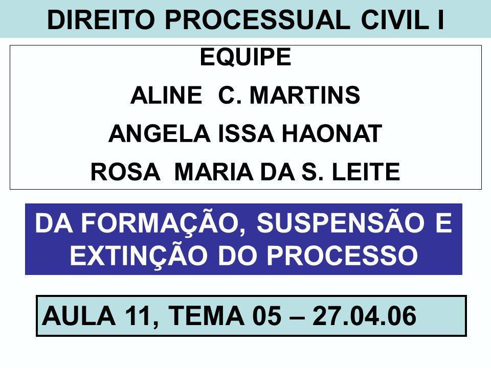 DIREITO PROCESSUAL CIVIL I EQUIPE ALINE C. MARTINS ANGELA ISSA HAONAT ROSA MARIA DA S. LEITE DA FORMAÇÃO, SUSPENSÃO E EXTINÇÃO DO PROCESSO AULA 11, TE