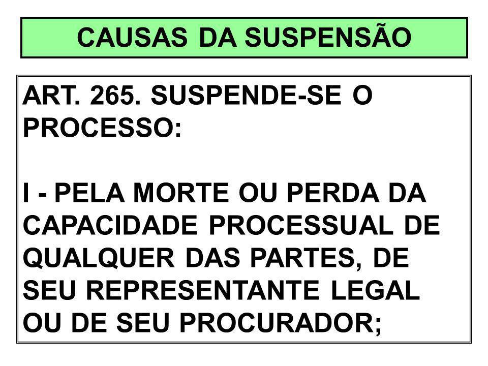 CAUSAS DA SUSPENSÃO ART. 265. SUSPENDE-SE O PROCESSO: I - PELA MORTE OU PERDA DA CAPACIDADE PROCESSUAL DE QUALQUER DAS PARTES, DE SEU REPRESENTANTE LE