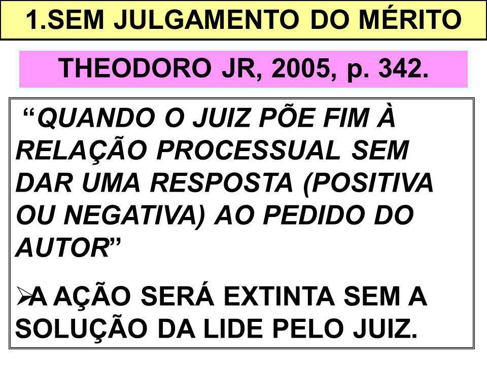 1.SEM JULGAMENTO DO MÉRITO THEODORO JR, 2005, p. 342. QUANDO O JUIZ PÕE FIM À RELAÇÃO PROCESSUAL SEM DAR UMA RESPOSTA (POSITIVA OU NEGATIVA) AO PEDIDO