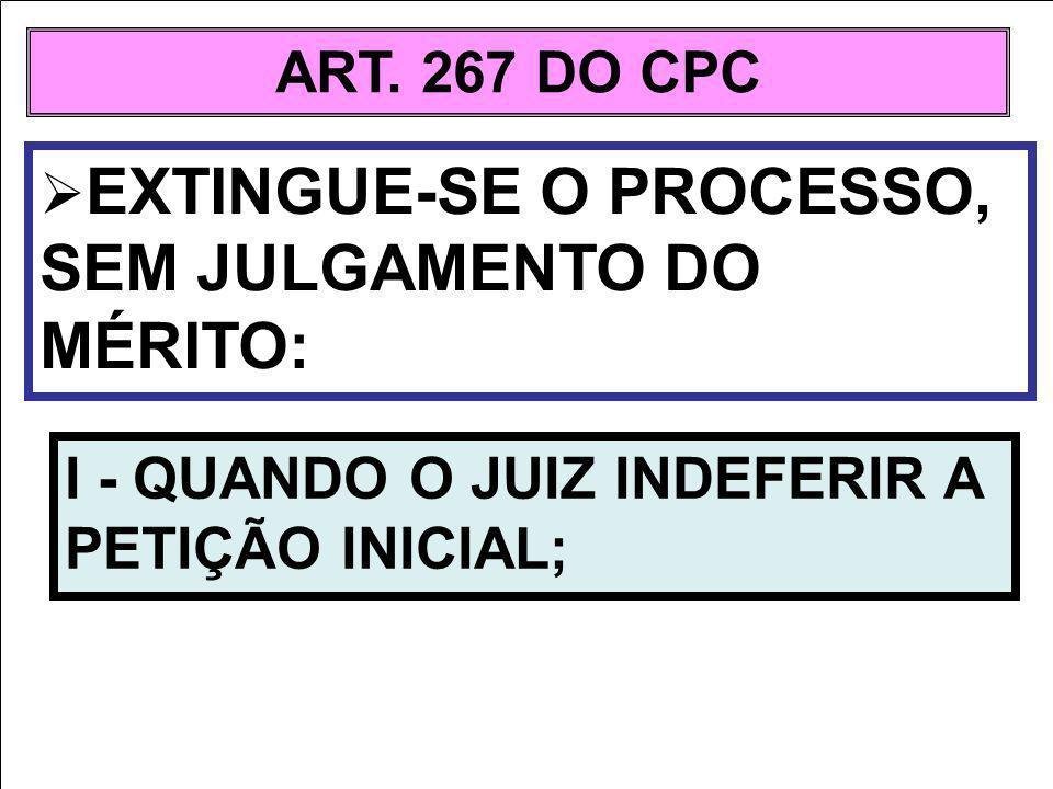 ART. 267 DO CPC EXTINGUE-SE O PROCESSO, SEM JULGAMENTO DO MÉRITO: I - QUANDO O JUIZ INDEFERIR A PETIÇÃO INICIAL;