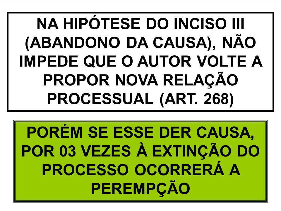 NA HIPÓTESE DO INCISO III (ABANDONO DA CAUSA), NÃO IMPEDE QUE O AUTOR VOLTE A PROPOR NOVA RELAÇÃO PROCESSUAL (ART. 268) PORÉM SE ESSE DER CAUSA, POR 0