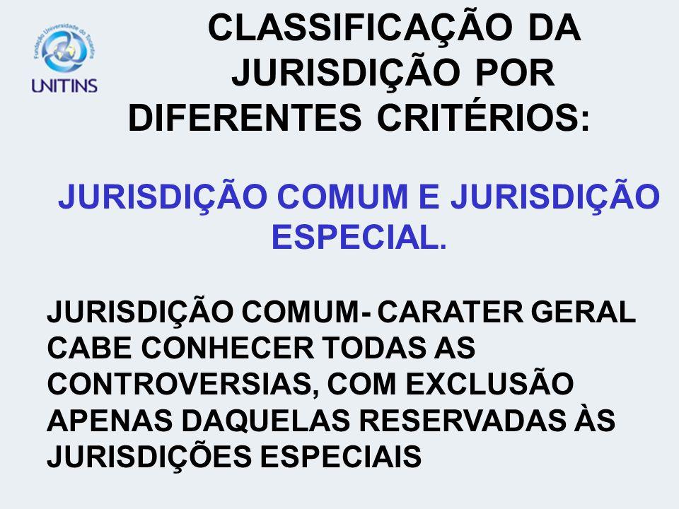 CLASSIFICAÇÃO DA JURISDIÇÃO POR DIFERENTES CRITÉRIOS: JURISDIÇÃO COMUM E JURISDIÇÃO ESPECIAL. JURISDIÇÃO COMUM- CARATER GERAL CABE CONHECER TODAS AS C
