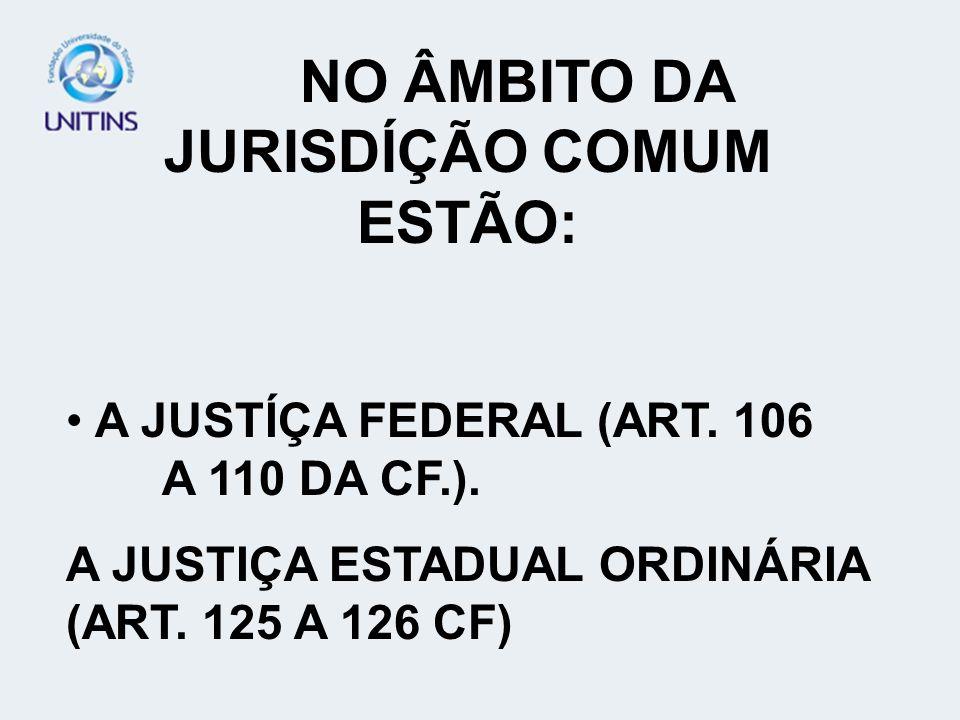 NO ÂMBITO DA JURISDÍÇÃO COMUM ESTÃO: A JUSTÍÇA FEDERAL (ART. 106 A 110 DA CF.). A JUSTIÇA ESTADUAL ORDINÁRIA (ART. 125 A 126 CF)