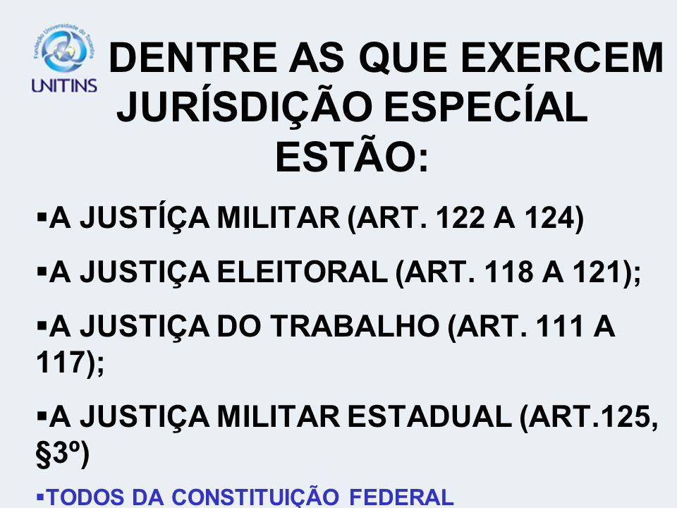 DENTRE AS QUE EXERCEM JURÍSDIÇÃO ESPECÍAL ESTÃO: A JUSTÍÇA MILITAR (ART. 122 A 124) A JUSTIÇA ELEITORAL (ART. 118 A 121); A JUSTIÇA DO TRABALHO (ART.