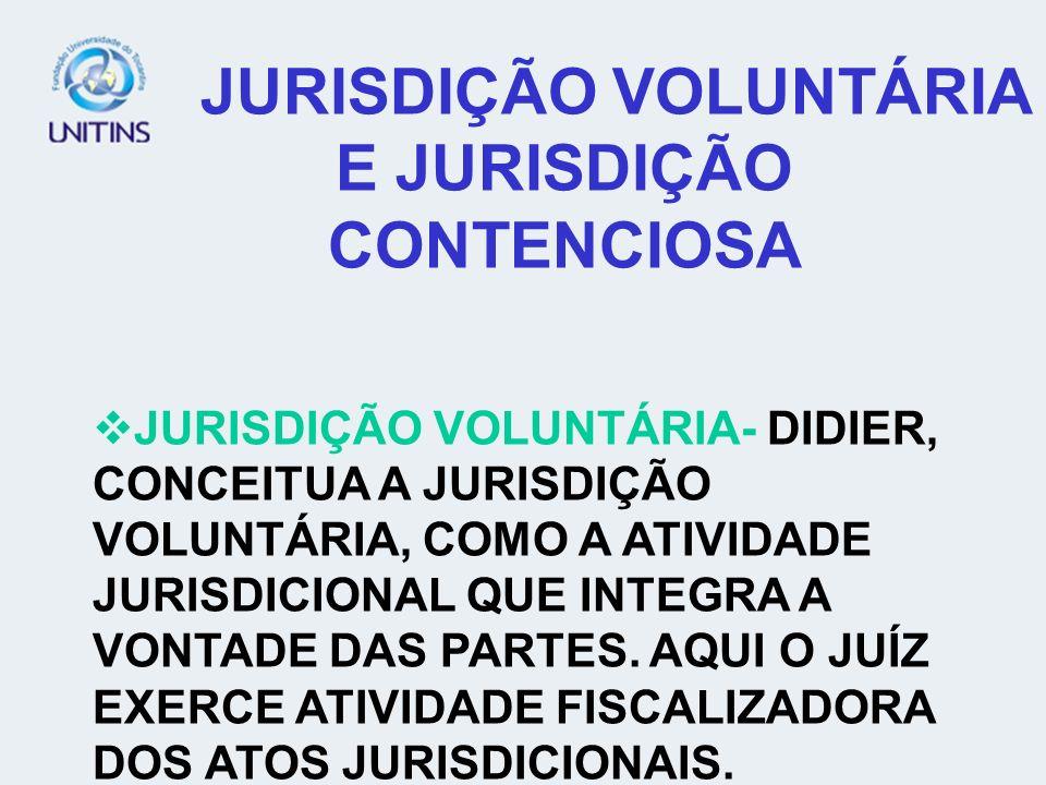 JURISDIÇÃO VOLUNTÁRIA E JURISDIÇÃO CONTENCIOSA JURISDIÇÃO VOLUNTÁRIA- DIDIER, CONCEITUA A JURISDIÇÃO VOLUNTÁRIA, COMO A ATIVIDADE JURISDICIONAL QUE IN