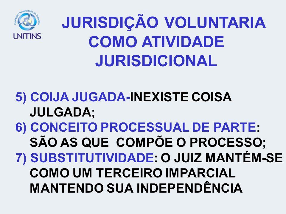 JURISDIÇÃO VOLUNTARIA COMO ATIVIDADE JURISDICIONAL 5) COIJA JUGADA-INEXISTE COISA JULGADA; 6) CONCEITO PROCESSUAL DE PARTE: SÃO AS QUE COMPÕE O PROCES