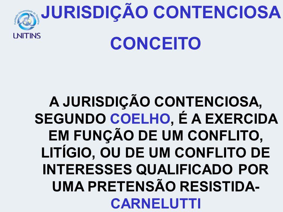 JURISDIÇÃO CONTENCIOSA CONCEITO A JURISDIÇÃO CONTENCIOSA, SEGUNDO COELHO, É A EXERCIDA EM FUNÇÃO DE UM CONFLITO, LITÍGIO, OU DE UM CONFLITO DE INTERES