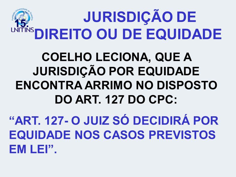 15. JURISDIÇÃO DE DIREITO OU DE EQUIDADE COELHO LECIONA, QUE A JURISDIÇÃO POR EQUIDADE ENCONTRA ARRIMO NO DISPOSTO DO ART. 127 DO CPC: ART. 127- O JUI