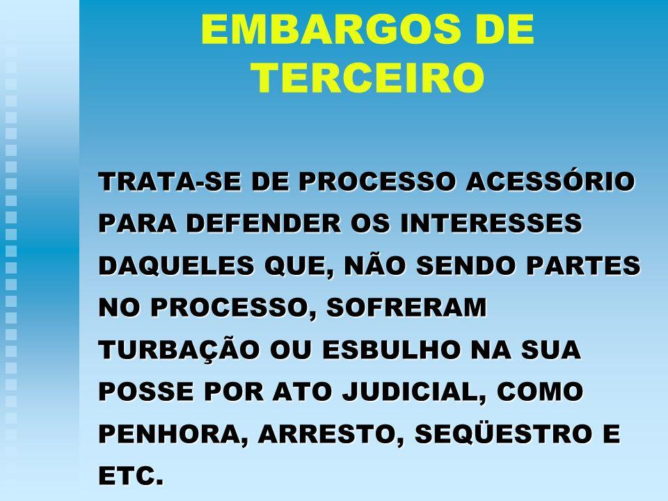 EMBARGOS DE TERCEIRO TRATA-SE DE PROCESSO ACESSÓRIO PARA DEFENDER OS INTERESSES DAQUELES QUE, NÃO SENDO PARTES NO PROCESSO, SOFRERAM TURBAÇÃO OU ESBUL