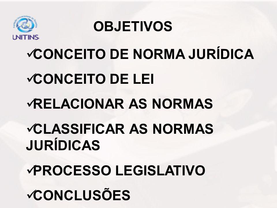OBJETIVOS CONCEITO DE NORMA JURÍDICA CONCEITO DE LEI RELACIONAR AS NORMAS CLASSIFICAR AS NORMAS JURÍDICAS PROCESSO LEGISLATIVO CONCLUSÕES