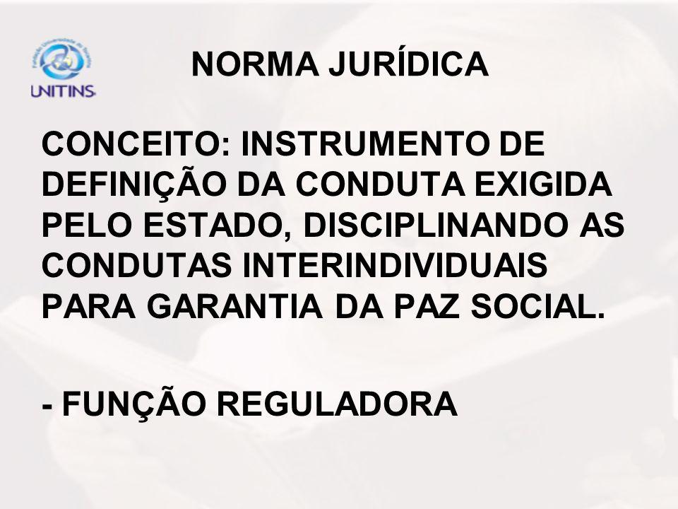 NORMA JURÍDICA CONCEITO: INSTRUMENTO DE DEFINIÇÃO DA CONDUTA EXIGIDA PELO ESTADO, DISCIPLINANDO AS CONDUTAS INTERINDIVIDUAIS PARA GARANTIA DA PAZ SOCI