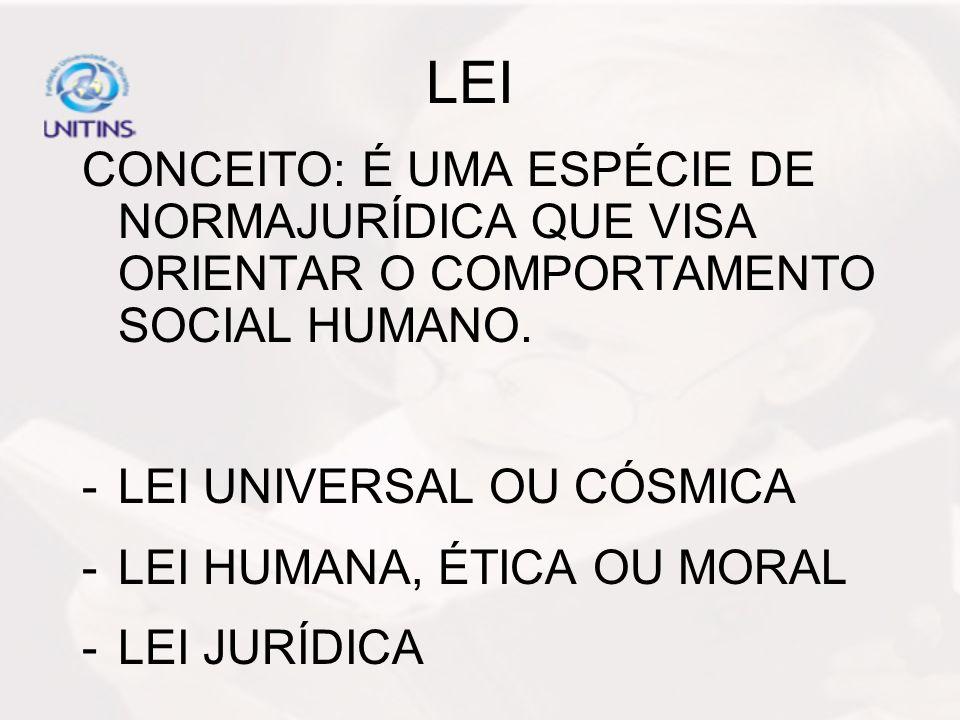 LEI CONCEITO: É UMA ESPÉCIE DE NORMAJURÍDICA QUE VISA ORIENTAR O COMPORTAMENTO SOCIAL HUMANO. -LEI UNIVERSAL OU CÓSMICA -LEI HUMANA, ÉTICA OU MORAL -L