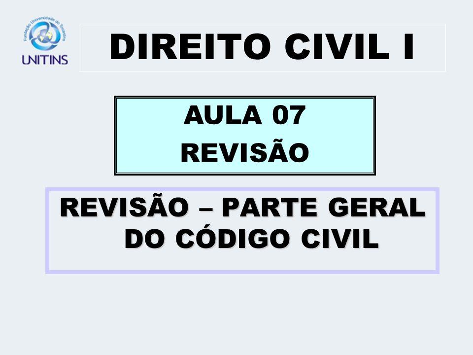 DIREITO CIVIL I REVISÃO – PARTE GERAL DO CÓDIGO CIVIL AULA 07 REVISÃO