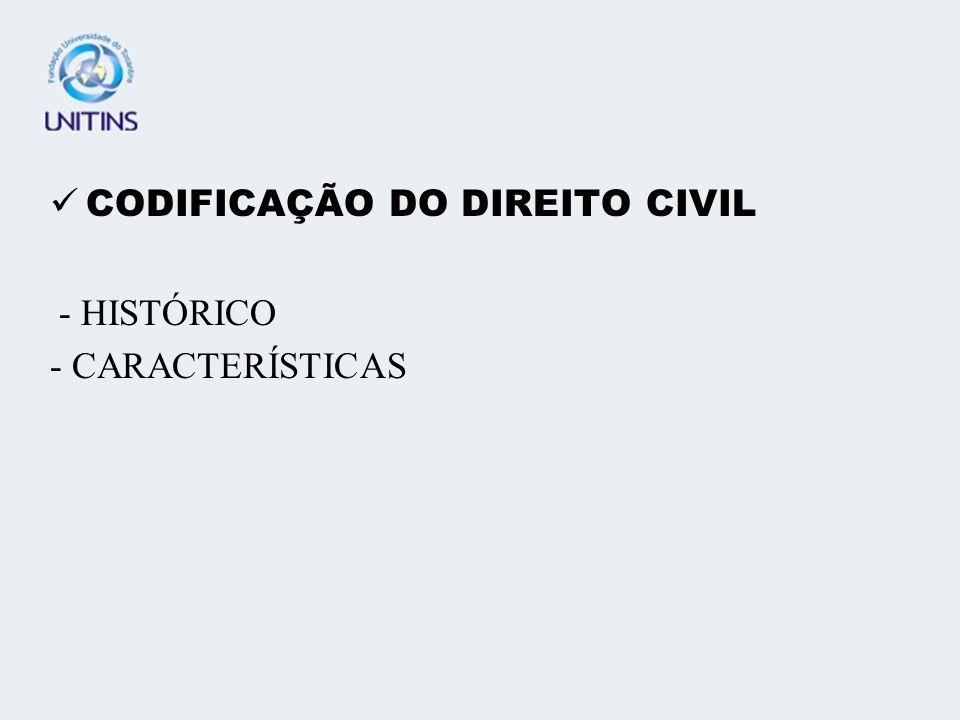 CODIFICAÇÃO DO DIREITO CIVIL - HISTÓRICO - CARACTERÍSTICAS