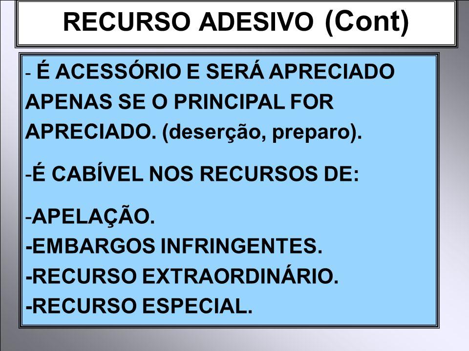 RECURSO ADESIVO (Cont) - É ACESSÓRIO E SERÁ APRECIADO APENAS SE O PRINCIPAL FOR APRECIADO.