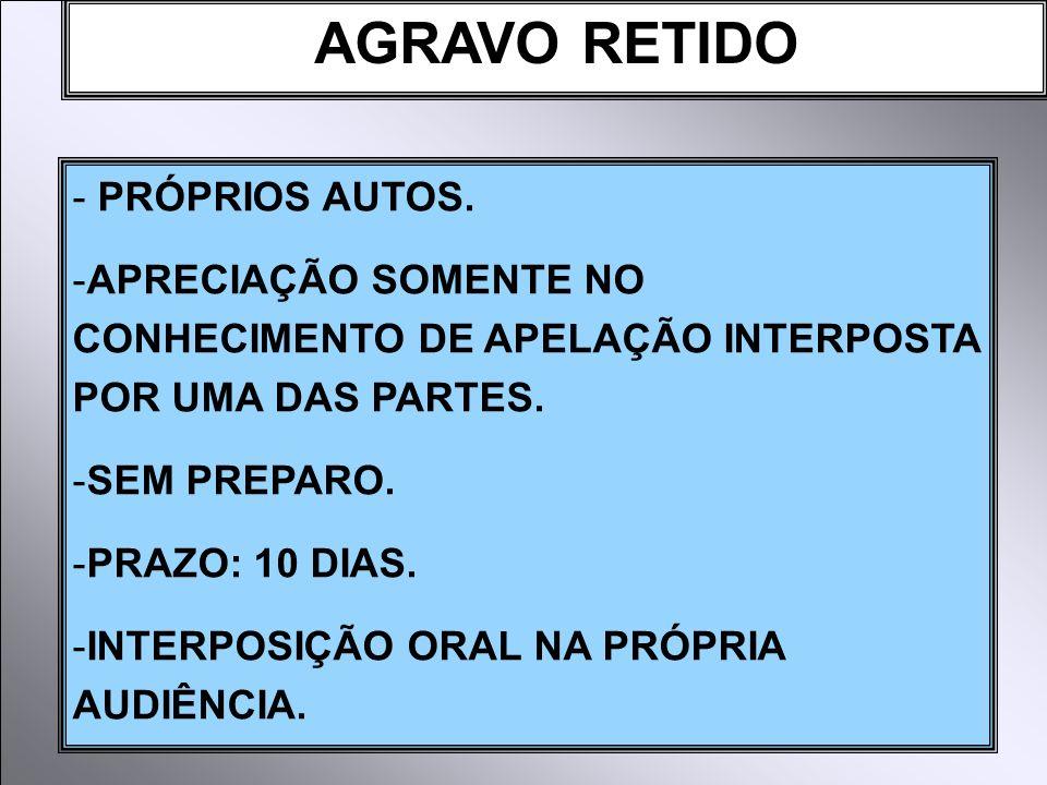 AGRAVO RETIDO - PRÓPRIOS AUTOS.
