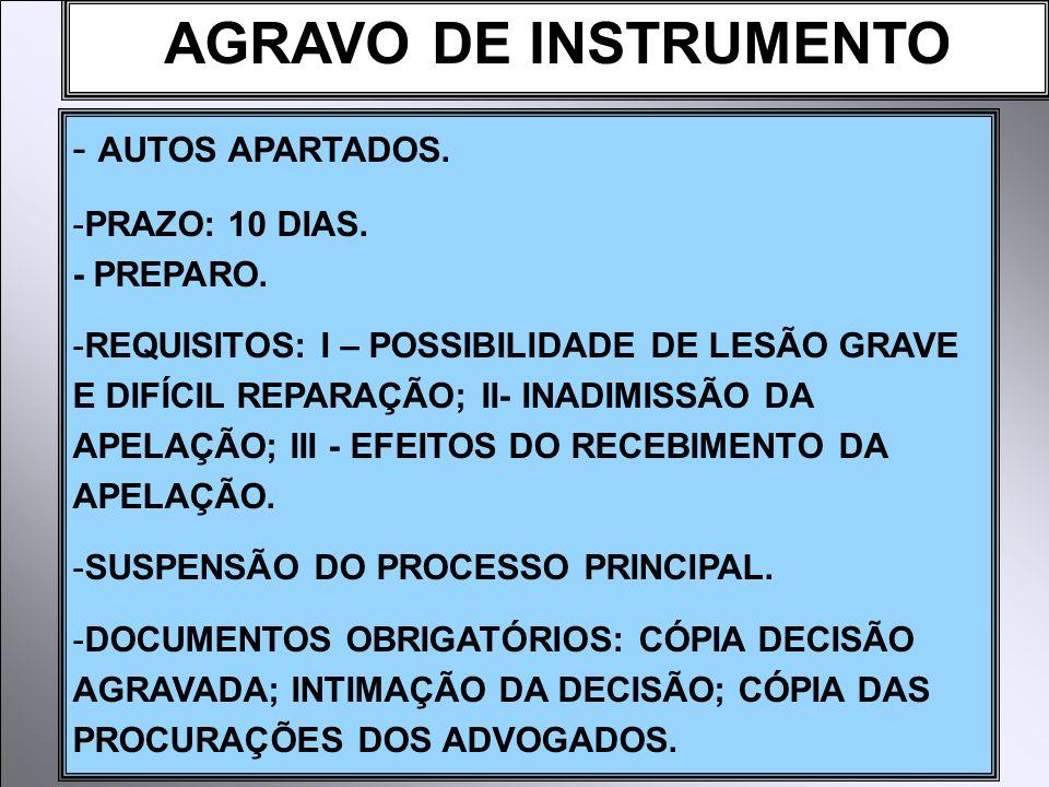 AGRAVO DE INSTRUMENTO - AUTOS APARTADOS. -PRAZO: 10 DIAS. - PREPARO. -REQUISITOS: I – POSSIBILIDADE DE LESÃO GRAVE E DIFÍCIL REPARAÇÃO; II- INADIMISSÃ