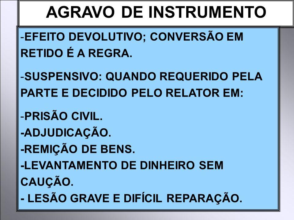 AGRAVO DE INSTRUMENTO -EFEITO DEVOLUTIVO; CONVERSÃO EM RETIDO É A REGRA.
